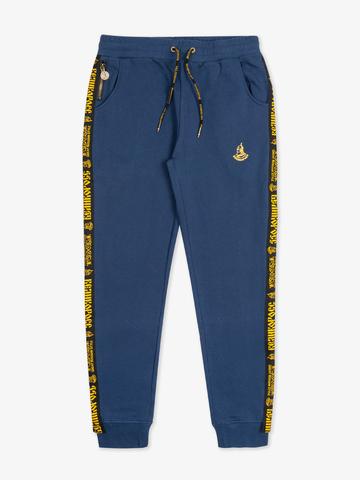 Спортивные штаны цвета синего денима с лампасами, с манжетами