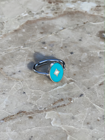 Aurora ring in silver with light blue enamel