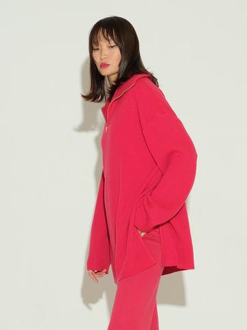 Женский свитер красного цвета из шерсти и кашемира - фото 4