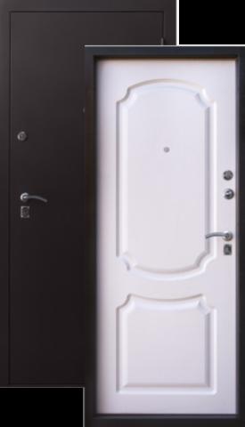 Дверь входная Н-10 стальная, белый шёлк, 2 замка, фабрика Алмаз
