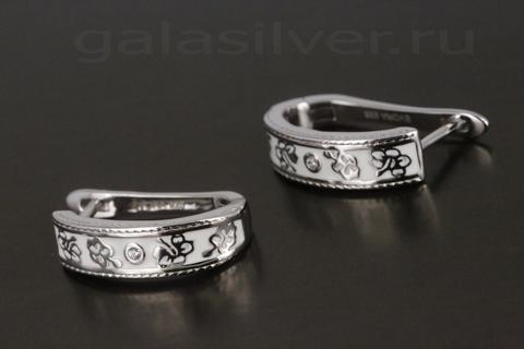 Серьги с эмалью и цирконом из серебра 925