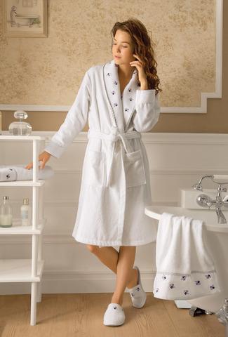 НАБОР Piccolo лиловый махровый женский халат тапочки и полотенце  Tivolyo Home (Турция)