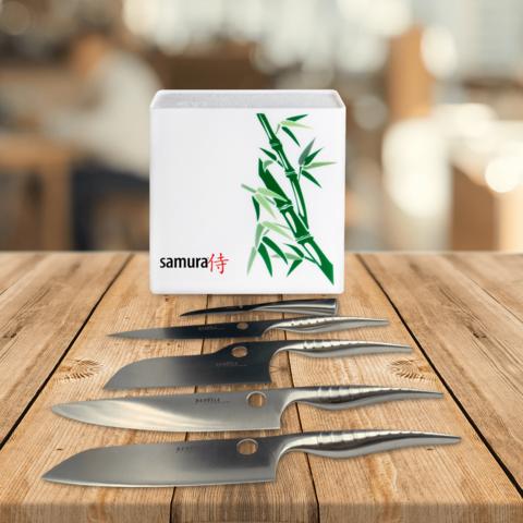 Набор из 5 кухонных стальных ножей Samura REPTILE и подставки KBH-101BW