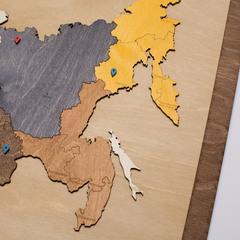 Карта России из дерева в прямоугольной рамке фото 4