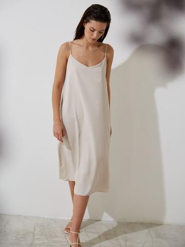 Платье-комбинация из вискозы бежевый