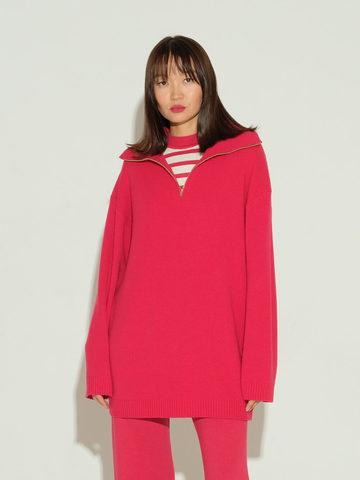 Женский свитер красного цвета из шерсти и кашемира - фото 2