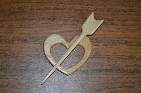 Заколка для трикотажа Сердечко (натуральный цвет)