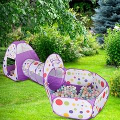 Палатка+туннель+бассейн, 3 в 1, Фиолетовый