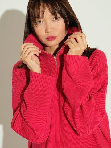 Женский свитер красного цвета из шерсти и кашемира - фото 3