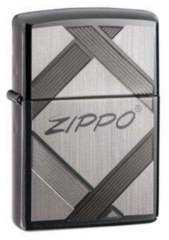 Зажигалка Zippo № 20969 с покрытием Black Ice, латунь/сталь, чёрная, глянцевая, 36x12x56 мм123