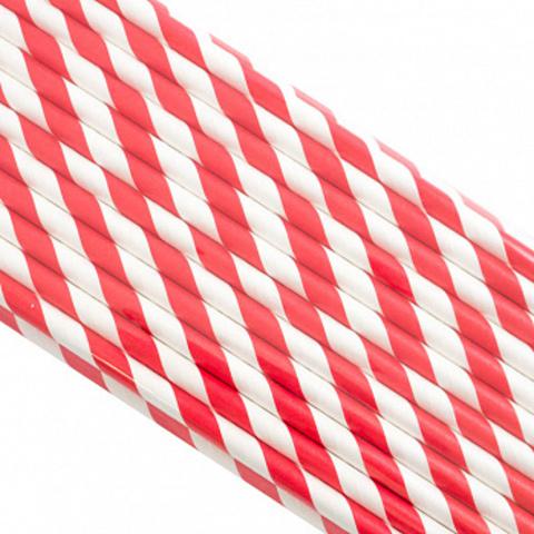 Трубочки бумажные Красные, 200*6мм, 25шт