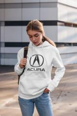 Женская толстовка белая с капюшоном (худи, кенгуру) и принтом Акура (Acura) 002