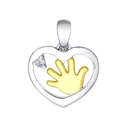 94031780- Подвеска из серебра с ручкой младенца