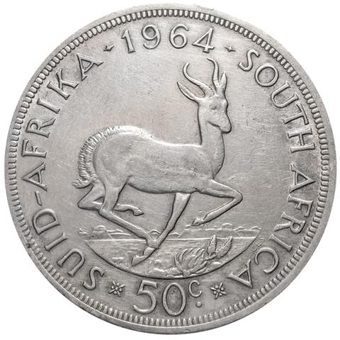 50 центов. Южная Африка. Серебро. 1964 год. XF-AU