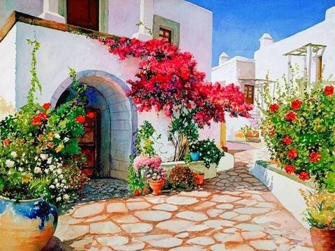 Картина раскраска по номерам 40x50 Проход к белым домикам