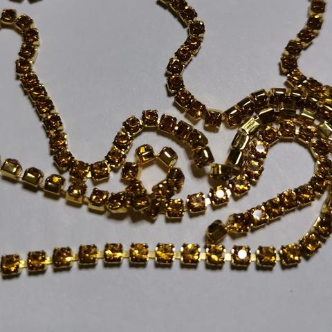Цепочка стразовая 6S, 1м., Золото в золоте.