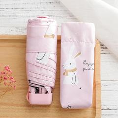 Яркий маленький зонт с защитой от УФ, 6 спиц, Япония, с принтом- Заяц (розовый)