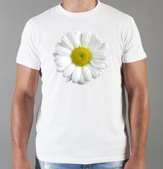 Футболка с принтом Цветы (Ромашки) белая 005
