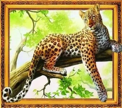 Алмазная Мозаика 5D 40x50 Леопард на дереве (арт. LT0578)