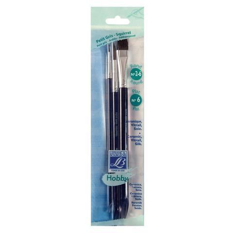 Набор кистей Lefranc&Bourgeois Hobby X3 [2/6/6], белка, короткая ручка