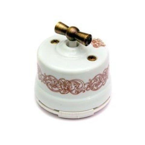 Выключатель двухклавишный, для наружного монтажа. Цвет Узор. Salvador. OP21UZ