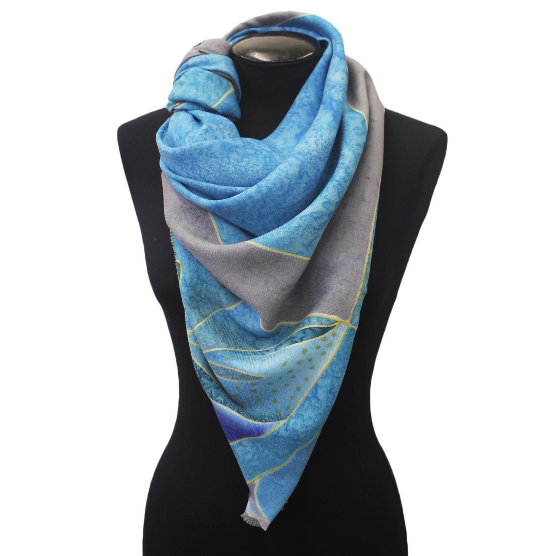 Шерстяной платок Голубой квадрат С-74-sh