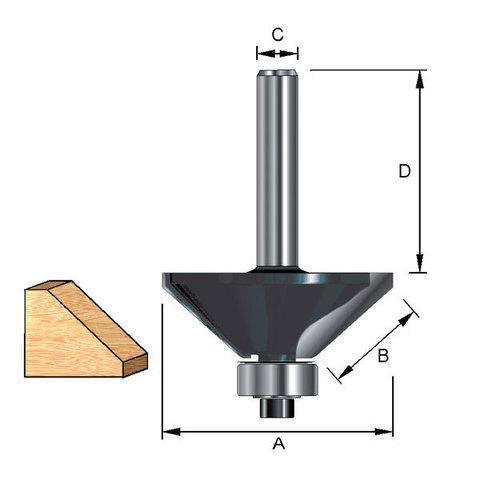 Фреза кромочная конусная с опорным подшипником  44,45х38х15,9/12 мм; 45°