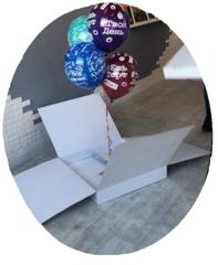 Коробка для шаров (Белая) С откидными стенками 60*60*60 см.