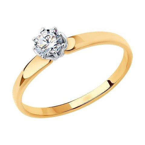 018493 - Помолвочное кольцо из золота с фианитом