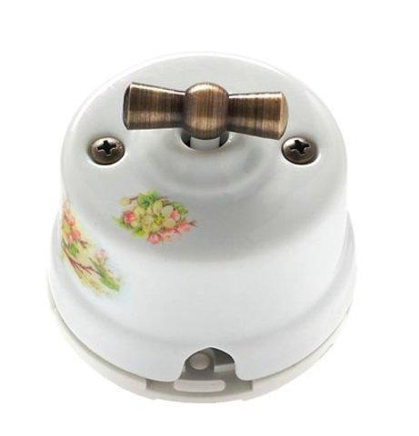 Выключатель двухклавишный, для наружного монтажа. Цвет Яблоня. Salvador. OP21AP