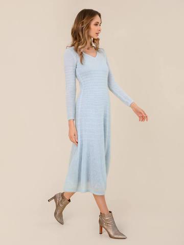 Женское платье синего цвета из мохера - фото 2
