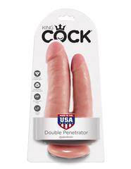 Двойной фаллоимитатор на присоске телесный King Cock Double Penetrator Flesh
