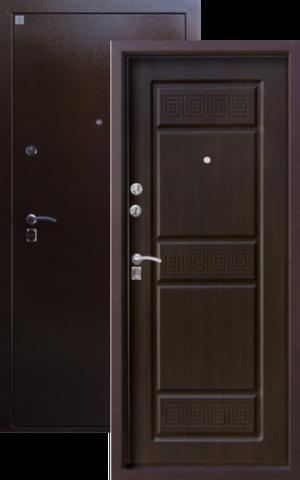 Дверь входная Н-16 стальная, венге, 2 замка, фабрика Алмаз