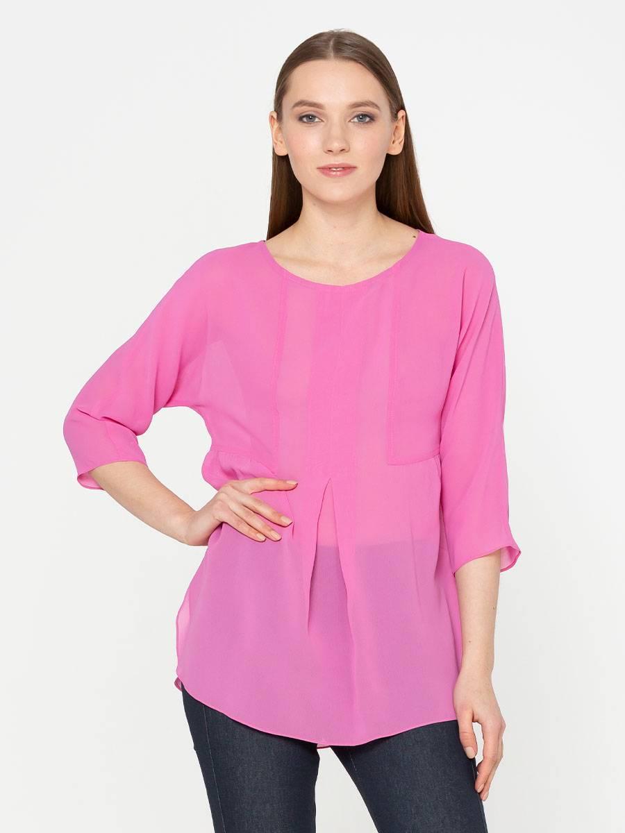 Блуза Г541-545 - Свободная блуза с цельнокроеным рукавом 3/4. Натуральная ткань приятная к телу. Блузка хорошо сидит и вносит в образ эффект легкости, она будет шикарно смотреться на фигуре любого типа