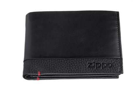 Портмоне Zippo с защитой от сканирования RFID, черное, натуральная кожа, 12×2×9 см