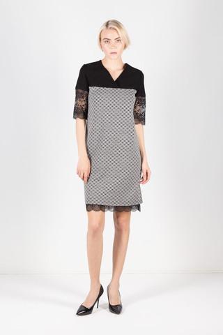 Фото платье прямого силуэта с геометрическим принтом и кружевными вставками - Платье З313-476 (1)