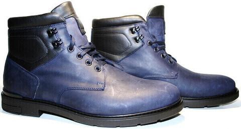 Высокие ботинки мужские зимние кожаные. Классические ботинки с мехом. Синие ботинки на шнуровке Ікос BlueBlack.