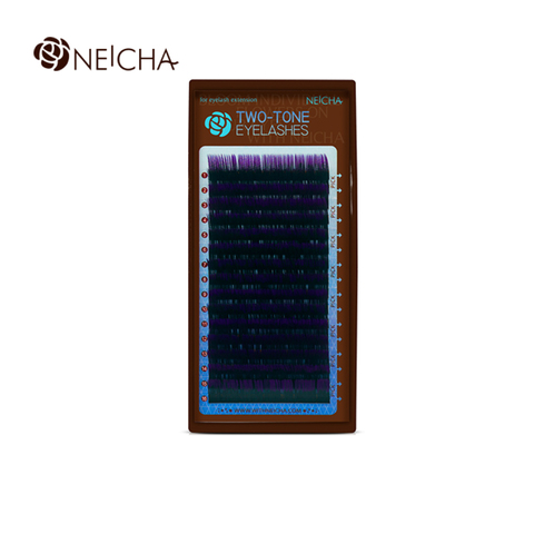 Ресницы NEICHA нейша MIX 16 линий двухцветные черно-фиолет