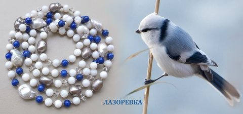 птичка белая лазоревка и бусы