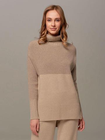 Женский свитер бежевого цвета с высоким горлом из шерсти и кашемира - фото 1