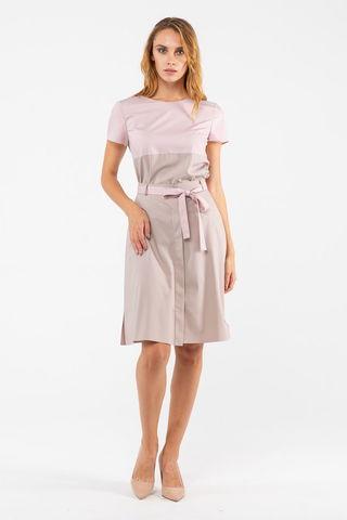 Фото прямая розовая блуза с коротким рукавом и поясом на талии - Блуза Г711-171 (1)