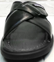 Шлепки сандали мужские. Черные босоножки шлепанцы мужские кожаные Brionis LB.