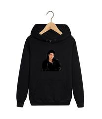 Толстовка черная с капюшоном (худи, кенгуру) и принтом Майкл Джексон (Michael Jackson) 001