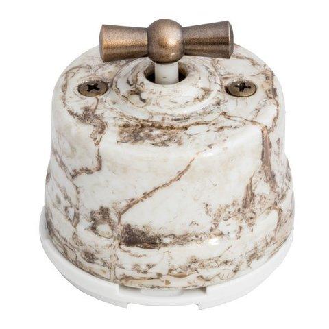 Выключатель двухклавишный, для наружного монтажа. Цвет Мрамор. Salvador. OP21MR