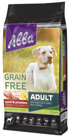 АBBA Premium Grain Free Adult беззерновой корм для собак всех пород старше 1 года, с ягненком и картофелем 12 кг.