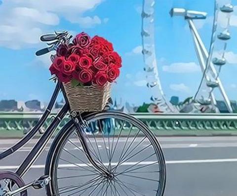 Алмазная Мозаика 40x50 Цветы в корзине велосипеда