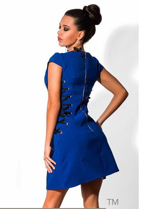 Короткое платье со шнуровкой, синее