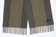 Шерстяной шарф зеленый в полоску 31351