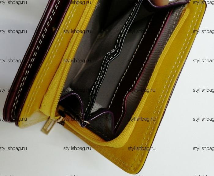 Маленький бордовый кошелек из кожи JCCS j-1130