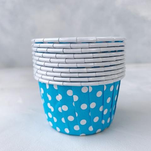 Форма бумажная капсула Маффин голубой/белый горох 100шт 50х40 мм